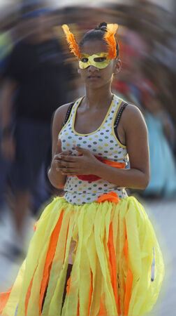 BOCA CHICA, DOMINICAN REPUBLIC, MARCH 2014: Resident people celebrate Caribbean Carnival on the Beach