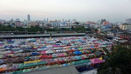 Bangkok, Thailand - February 2018: colorful shops at the train night market Ratchada