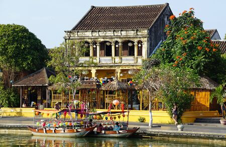 old and traditional japanese bridge in hoi an