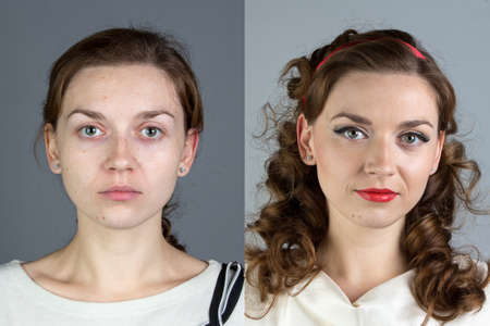 Portrait of young woman before and after make up - isolated photo