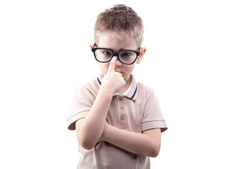 Little blond educated boy in glasses on white background