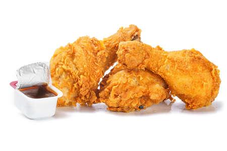 Photo pour Photo of crispy spicy chicken legs with barbecue sauce - image libre de droit