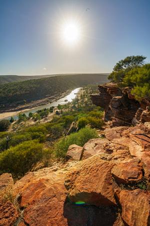 Foto per Hiking the canyon. sun over natures window loop trail, kalbarri national park, western australia - Immagine Royalty Free