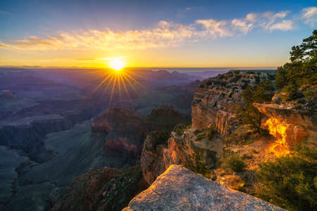 Photo for sunrise at hopi point on the rim trail at the south rim of grand canyon in arizona in the usa - Royalty Free Image