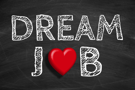 Photo pour Text Dream Job is written on the blackboard background. - image libre de droit
