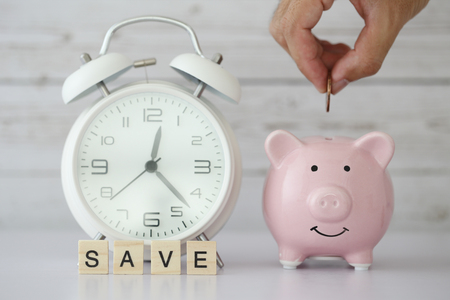 Photo for Save time and money concept with blank white background. - Royalty Free Image