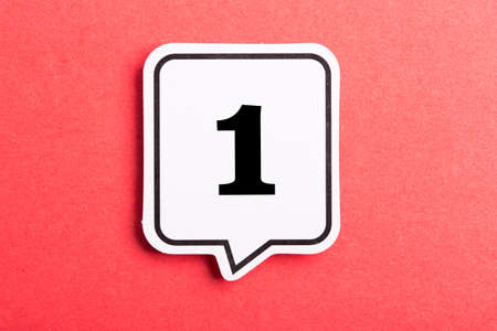 Photo pour Number One Speech Bubble isolated on red background. - image libre de droit