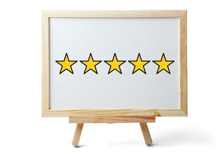 Photo for Five stars for review, increase rating or ranking, evaluation and classification concept. - Royalty Free Image