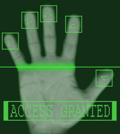 Biometric palm scanning screen with access granted text