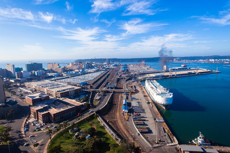 Photo pour Durban harbor port landscape from birds-eye air position. - image libre de droit