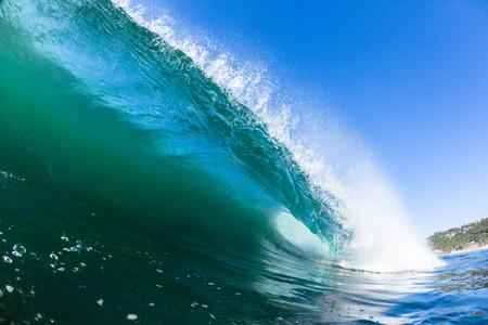Photo pour Ocean swimming water photo inside hollow crashing wave. - image libre de droit