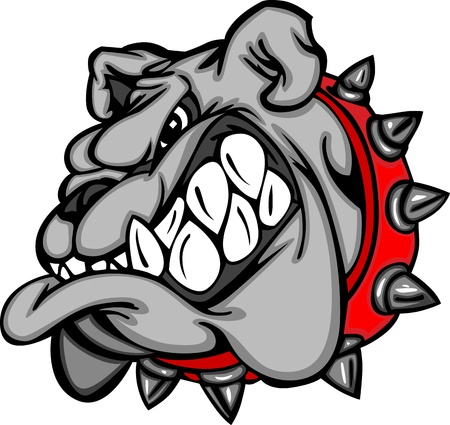 Bulldog Mascot Cartoon Face Illustration