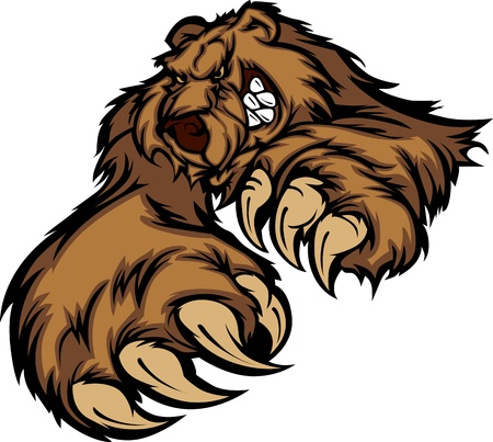 Illustration pour Grizzly Bear Mascot Body with Paws and Claws - image libre de droit