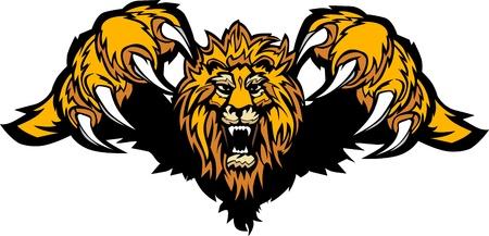 Lion Mascot Pouncing Graphic