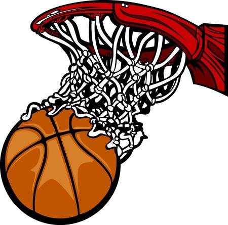 Ilustración de Basketball Hoop with Basketball Cartoon  - Imagen libre de derechos