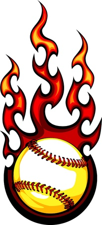 Baseball with Flames Vector Imageのイラスト素材
