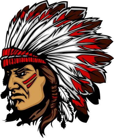 Illustration pour Indian Chief Mascot Head Vector Graphic - image libre de droit