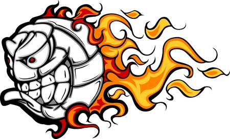 Volleyball Ball Flaming Face Image