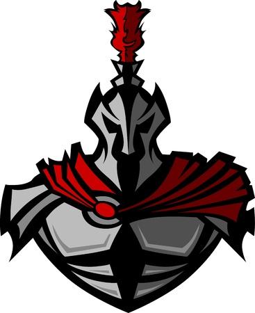 Medieval Warrior with Helmet Vector Mascot