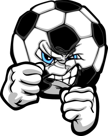 Sketch Illustration of a Soccer Ball with Face and Fighting Hands