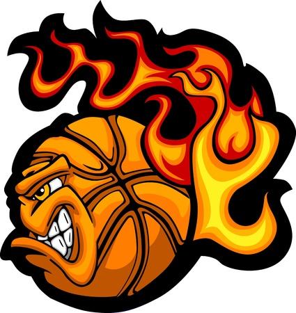 Flaming Basketball Ball Face Vector Illustration