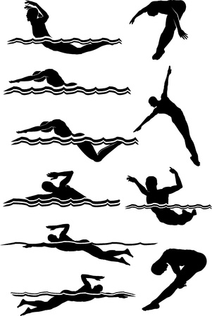Male Swimming and Diving Silhouettes Vector Images