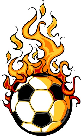 Flaming Soccer Ball Vector Cartoon burning with Fire Flames