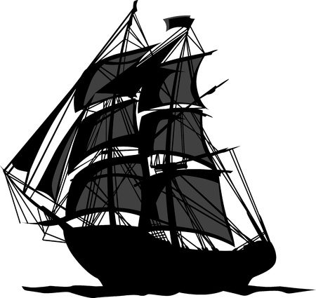 Sailing Pirate Ship with Sails Graphic Vector Image