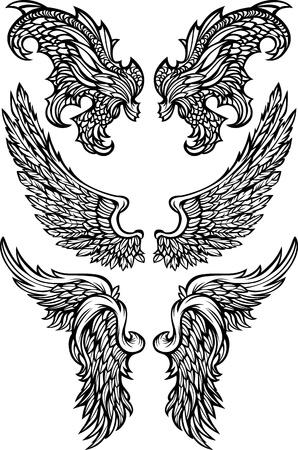 Angel & Demon Wings Ornate Vector Images