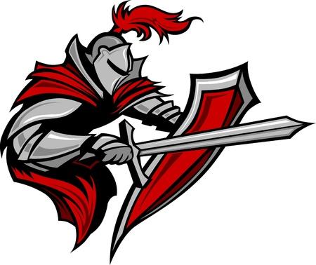 Illustration pour Warrior or Medieval Knight Vector Mascot wearing Armor - image libre de droit