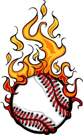 Flaming Baseball Softball Ball Cartoon burning with Fire Flames