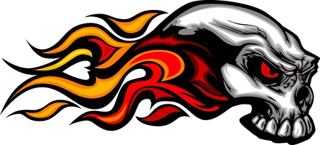 Illustration for Skull on Fire with Flames Illustration - Royalty Free Image