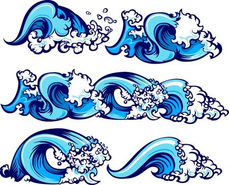 Ilustración de Waves of water graphic images - Imagen libre de derechos