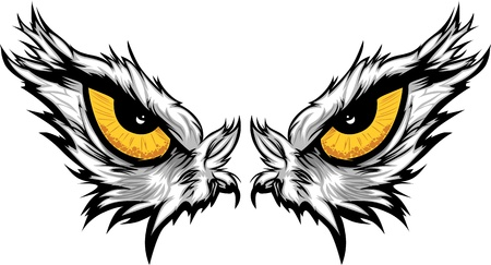 Cartoon Vector Mascot Image of an Eagle Eyes