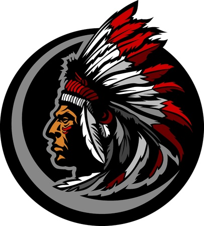 Illustration pour Graphic Native American Indian Chief Mascot with Headdress - image libre de droit