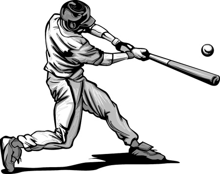 Baseball Hitter Swinging at a Fast Pitch Vector Illustrationのイラスト素材