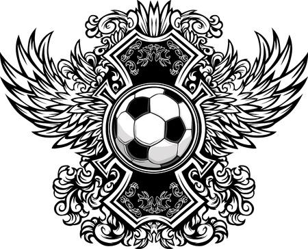 Ilustración de Soccer Ball with Ornate Wing Borders Graphic - Imagen libre de derechos