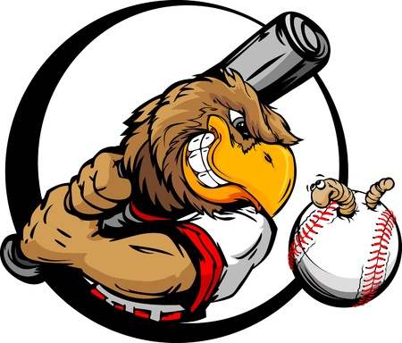 Baseball Cartoon Early Bird Batter with Bat and Ball with Worm Vector Illustration