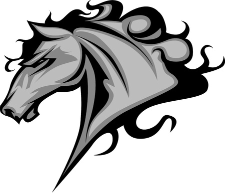 Graphic Mascot Vector Image of a Mustang Bronco Horse