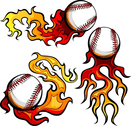 Graphic baseballs sport vector image with flames