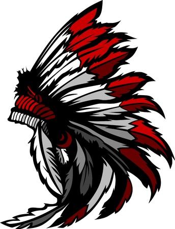 Illustration pour Graphic Native American Indian Chief Headdress - image libre de droit