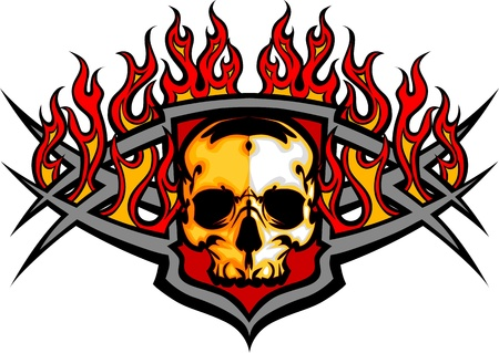 Illustration for Graphic skull vector image template with flames - Royalty Free Image