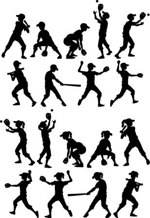 Baseball or Softball Players Silhouettes of Kids - Boys and Girls