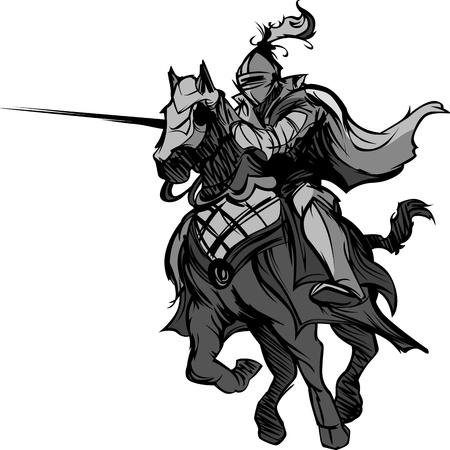Illustration pour Knight with armor riding a horse and Jousting - image libre de droit