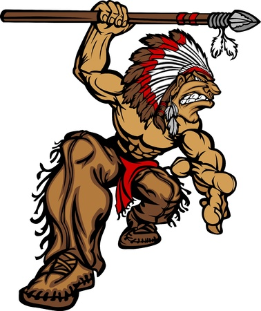 Illustration pour Cartoon Graphic of a native American Indian Chief Mascot holding a spear - image libre de droit