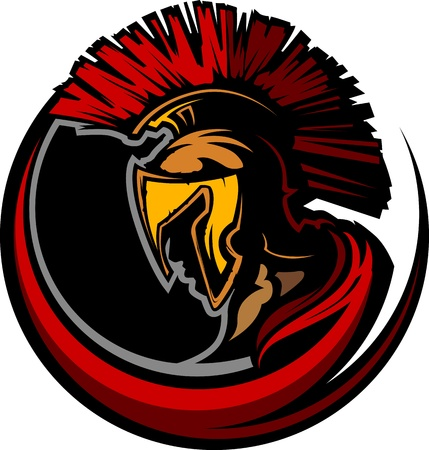 Graphic Trojan or Spartan Mascot with Headdress