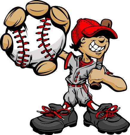 Baseball Boy Cartoon Player with Bat and Ball Illustration
