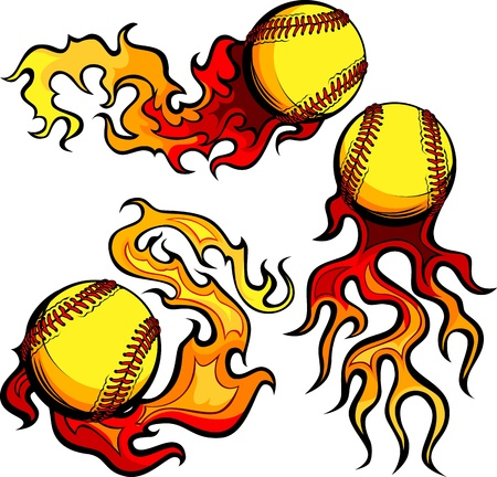 Flaming Graphic Softball Sport Image with Flames