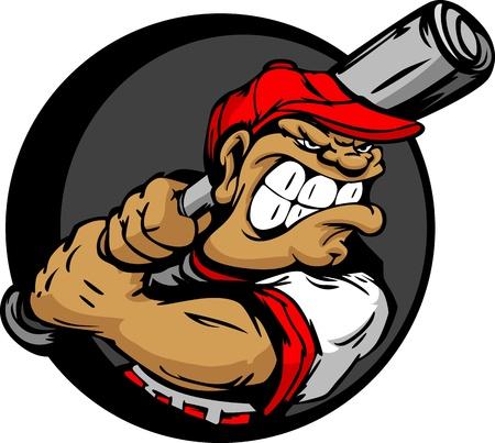 Baseball Cartoon Batter with Bat Illustration
