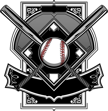 Baseball Bats, Baseball, and Home Plate or Ornate Field Vector Graphicのイラスト素材